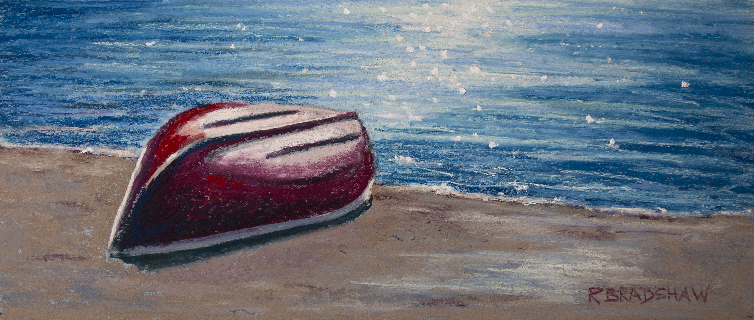 An image of Renata Bradshaw's pastel on paper painting Little Red Canoe